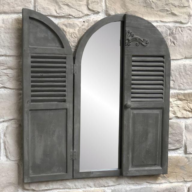 L'ORIGINALE Deco Grand Miroir Fenêtre Volet avec Prise Mural en Bois 89 cm