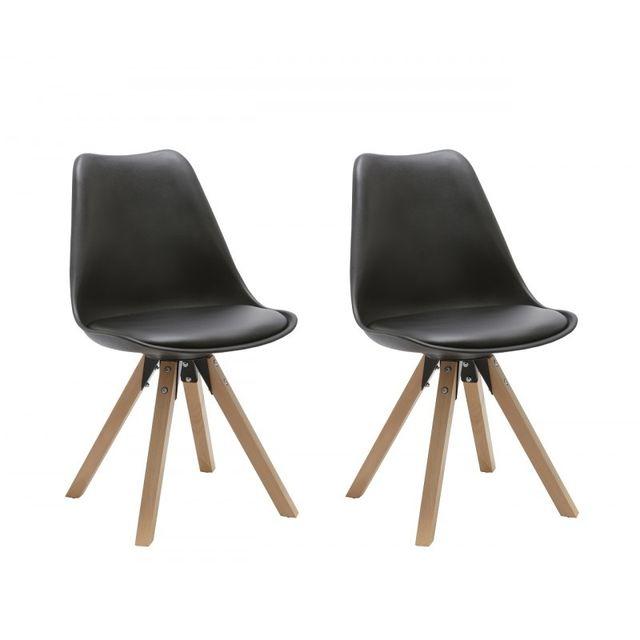 Autre Set de 2 chaises de salle à manger design simili-cuir noir pieds bois Cds09027