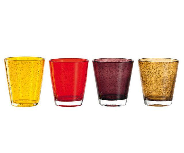 Leonardo Gobelet bas multicolore - set de 4 gobelets assortis Burano - couleurs chaudes