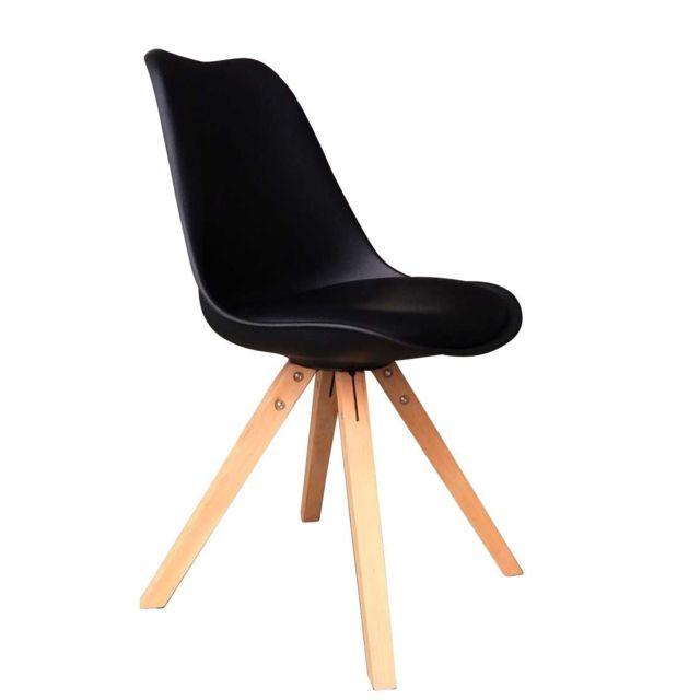 RUE DU COMMERCE - MANHATTAN - Chaise noire avec pieds en hêtre