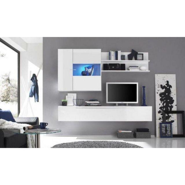 Inside 75 Composition murale Tv design Primera 2 blanc brillant