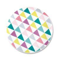Bruno Evrard - Assiette dessert en porcelaine motifs graphiques 21cm - Lot de 6 - Porcelaine - Blanc, Multicouleurs