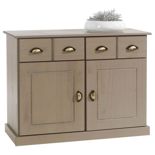IDIMEX Buffet PARIS commode bahut vaisselier avec 2 portes battantes et 2 tiroirs pin massif lasuré taupe