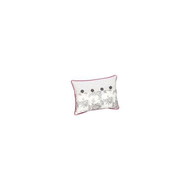 Audacieux Comptoir de famille - Coussin en coton déhoussable gris et rose XE-24