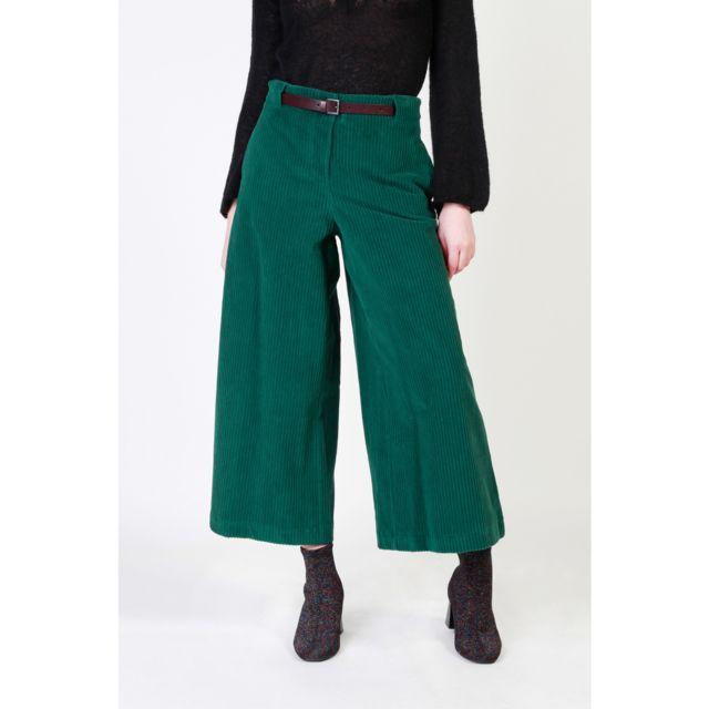 34b8cd328d158 Buzzao - Pantalon taille haute en velours côtelé avec ceinture vert femme -  Dixie