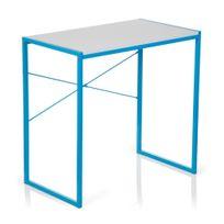Hjh Office - Table d'ordinateur / bureau informatique Easy Up bleu clair / blanc