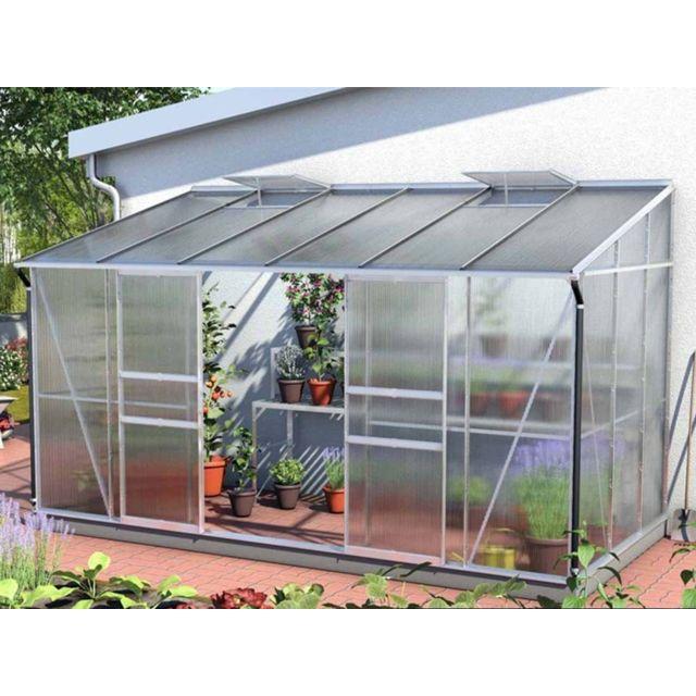 LAMS - Serre adossée en verre Ida + Base - 7,80 m² - pas ...