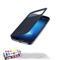 """Muzzano - Etui ? Rabat Folio """"Le Clap"""" Touch Premium Bleu nuit pour Samsung I9500 / Galaxy S4 + 3 Films de protection ?cran"""