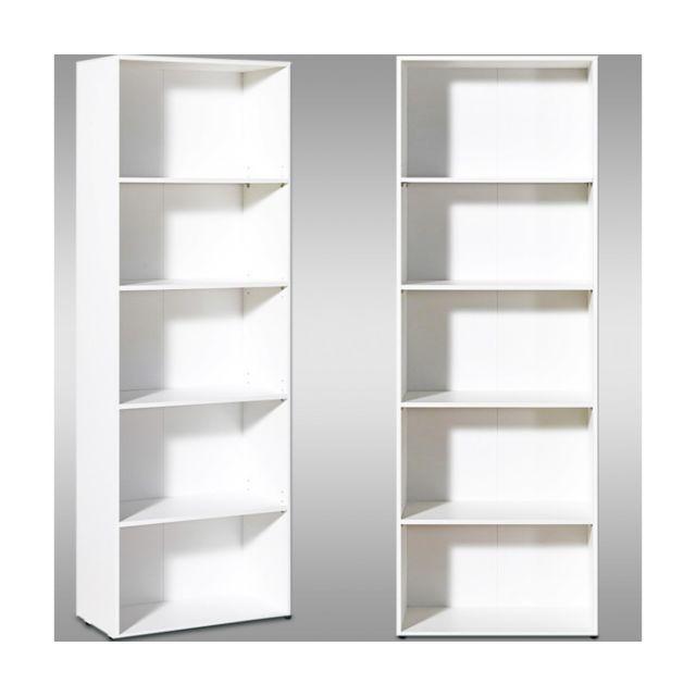 Toprix - Superbe Etagère bibliothèque blanche 5 étages meuble ...