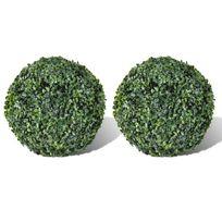 Vida - 2 pièce de boule artificiel plante intérieur extérieur 27 cm