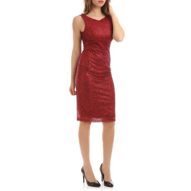 Lamodeuse - Robe mi-longue rouge doublée à paillettes - pas cher ... 5db9e6f69443