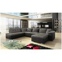 Meublesline - Canapé d'angle panoramique Alia gris et noir