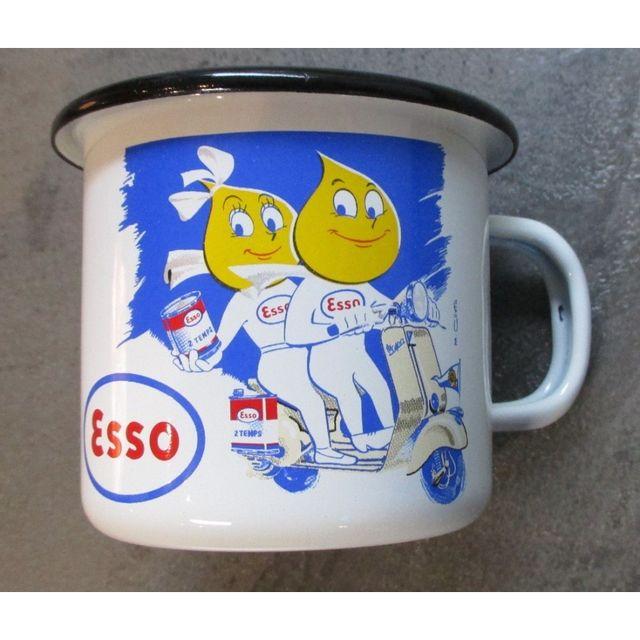 Universel Mug esso scooter en email tasse à café emaillée huile
