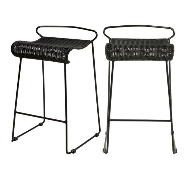 Rendez Vous Deco Chaise de bar Magadi en résine tressée noire 72,5 cm lot de 2