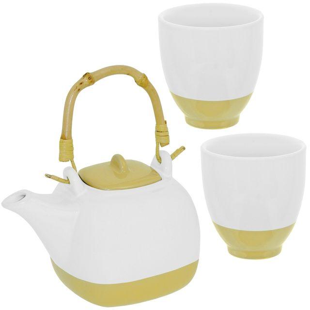 Promobo Set Ensemble Théière Céramique Avec Anse Bambou Et Deux Mugs Crème