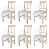 rocambolesk superbe 6 pcs chaise salle manger en bois naturel neuf