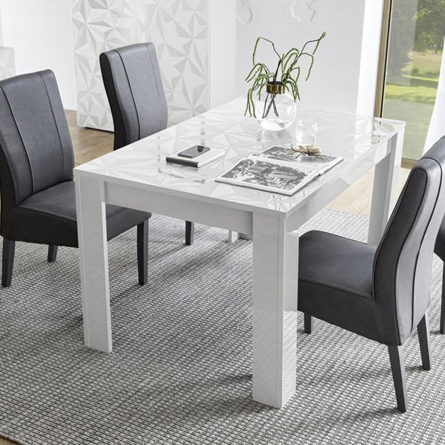 Sofamobili Table 180 cm blanc laqué design Antonio