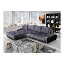 Chloe Design - Canapé d'angle convertible Orava - noir et gris - Angle gauche