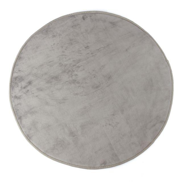 Tapis rond en velours gris 90cm
