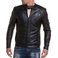 BLZ Jeans - Veste imitation cuir noir avec coutures aux épaules