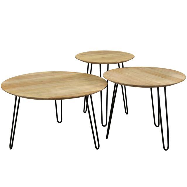 Rendez Vous Deco Table Basse Gigogne Alcazar Lot De 3 Pas Cher