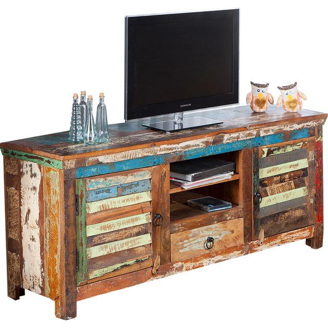 COMFORIUM Meuble TV design en bois multicolore