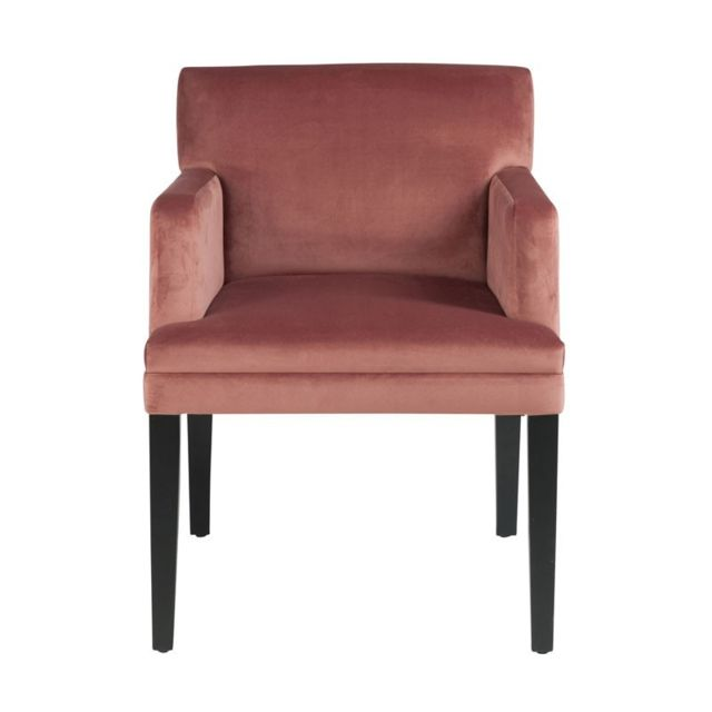 Tousmesmeubles - Fauteuil Velours Rose - Velly n°1