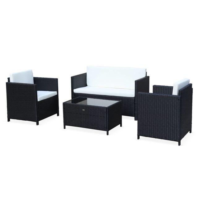 ALICE'S GARDEN Salon de jardin en résine tressée - Perugia - noir, Coussins écrus - 4 places - 1 canapé, 2 fauteuils, une table basse