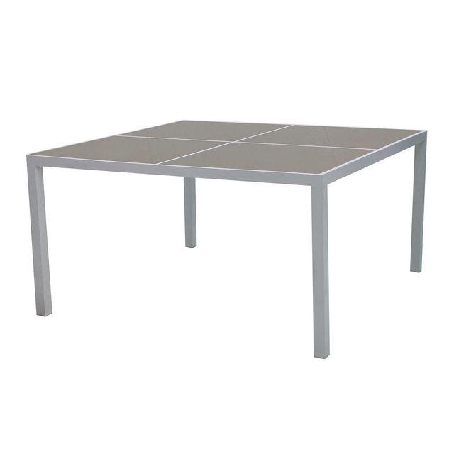 Les Essentiels By Dlm Table de jardin carrée en aluminium et plateau en verre 140x140cm Sunny