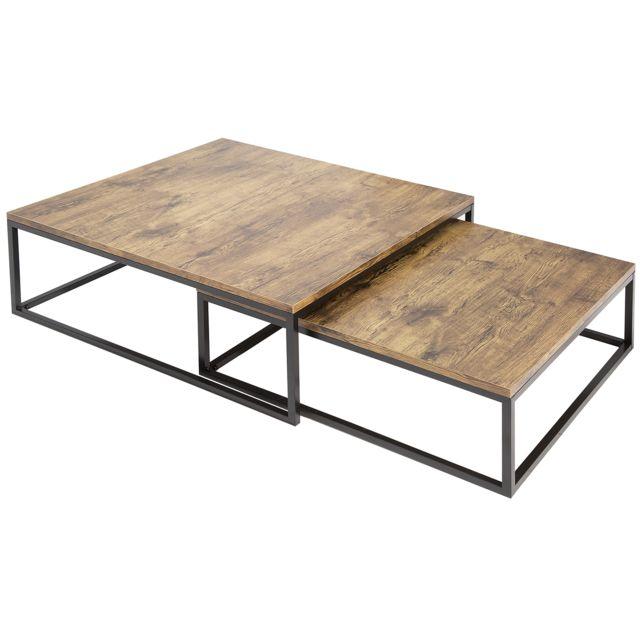 COMFORIUM Lot de 2 tables basses avec un plateau en MDF et un piétement en métal coloris naturel et noir