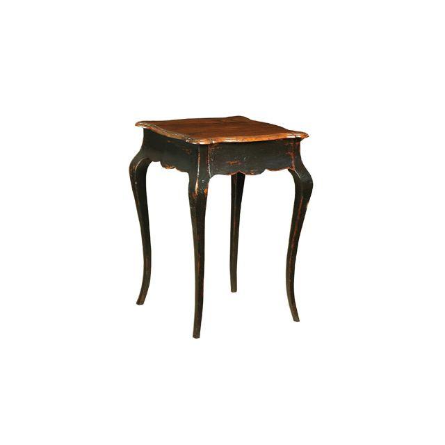 Guéridon carré 1 tiroir noir vieilli en bois massif Regence