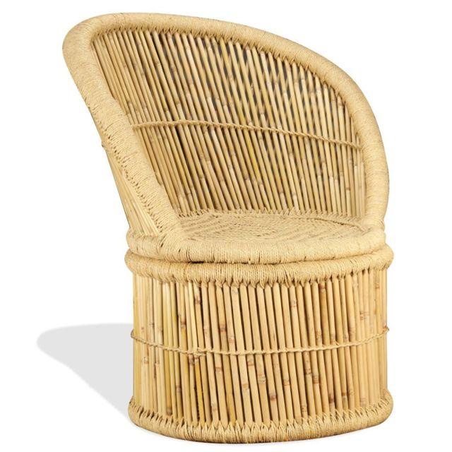 Vidaxl Chaise en Bambou Fauteui Siège de Salon Meuble de Bureau Chambre Maison