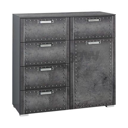 Commode 1 porte 5 tiroirs 110x106x42cm - Anthracite