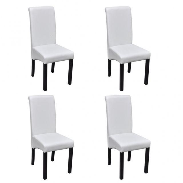 Casasmart Lot de 4 chaises en simili cuir blanc