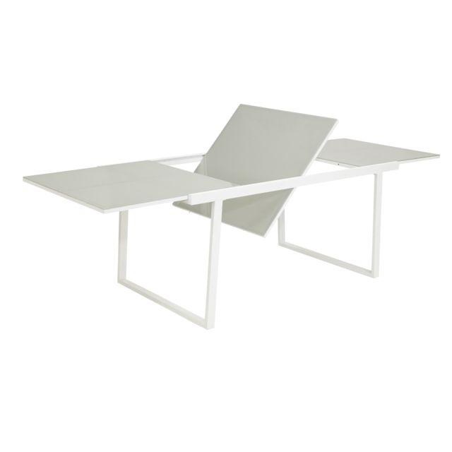 CARREFOUR - Salon de jardin Sofia - Table avec allonge et 6 fauteuils Blanc