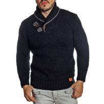 Young And Rich - Pull homme noir col châle en laine tressée