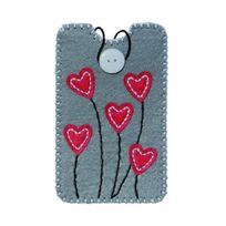 Kleiber - 1 Pochette En Feutre Pour Smartphone Hearts Size L Ca 9,2 X 15,5 Cm