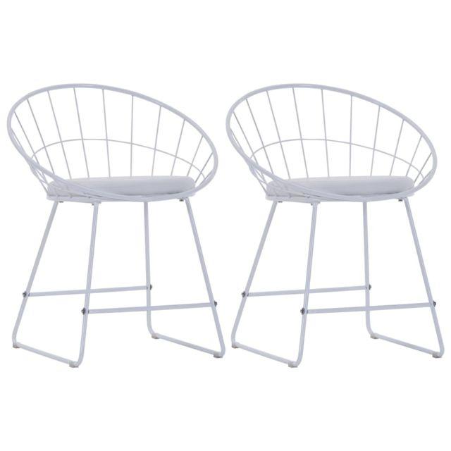 Admirable Fauteuils et chaises ensemble Wellington Chaises de salle à manger Siège en similicuir 2 pcs Blanc Acier