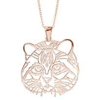 1001BIJOUX - Collier argent dorure rose gros pendentif tête de chat 40+10cm
