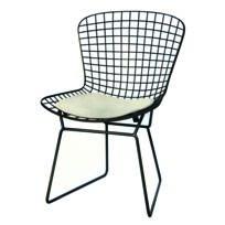 Pomax - Chaise quadrillé en acier assise polyester coloris noir/blanc 54x59x82cm Harry
