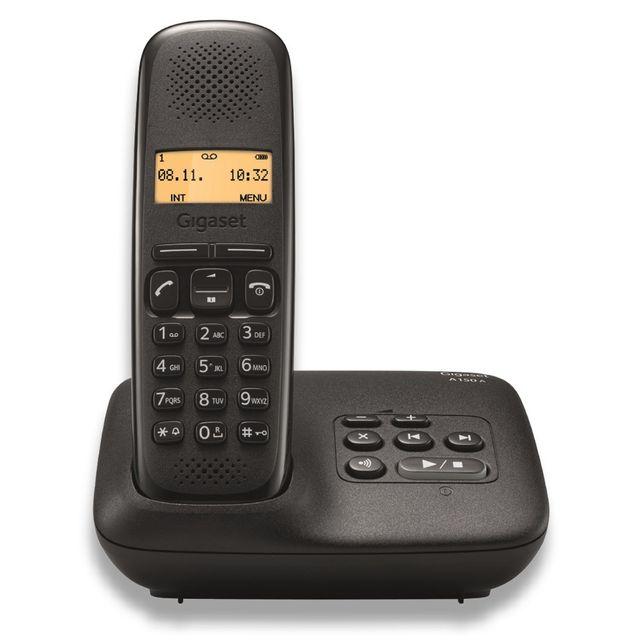 gigaset t l phone fixe sans fil avec r pondeur a150a solo noir pas cher achat vente. Black Bedroom Furniture Sets. Home Design Ideas