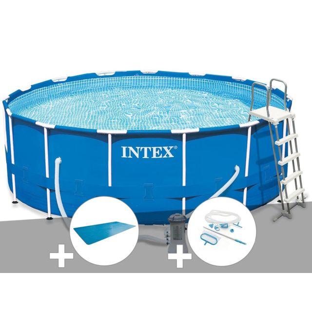 intex kit piscine tubulaire metal frame ronde 4 57 x 1. Black Bedroom Furniture Sets. Home Design Ideas