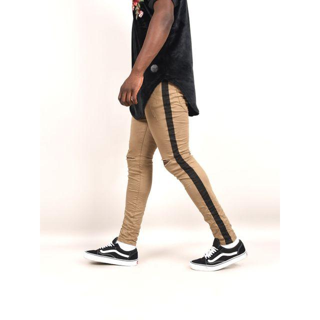 3da7a6f04fcb5 Project X - Jean skinny à bandes latérales homme Paris, Taille  30, Couleur   Kaki - pas cher Achat   Vente Jeans homme - RueDuCommerce