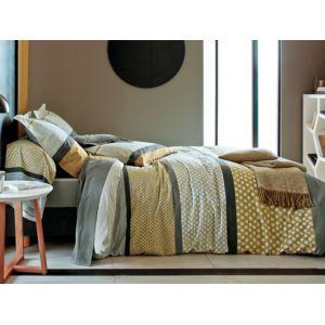 francois hans parure drap housse 140x190cm drap plat 2 taies 100 coton patchwork rayure. Black Bedroom Furniture Sets. Home Design Ideas
