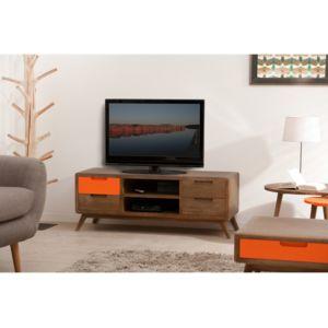 marque generique meuble tv bas en bois avec niches et tiroirs l120cm hogan marron pas cher. Black Bedroom Furniture Sets. Home Design Ideas