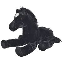 Nicotoy - Grand Peluche : Cheval Noir Couche 61cm - Peluche Enfant - Doudou