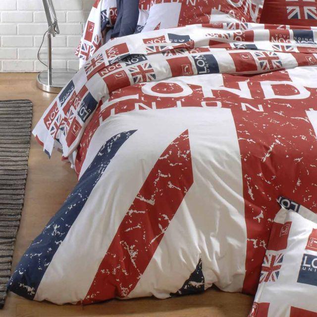 linnea housse de couette 200x200 cm 100 coton london union jack multicolore 200cm x 200cm. Black Bedroom Furniture Sets. Home Design Ideas