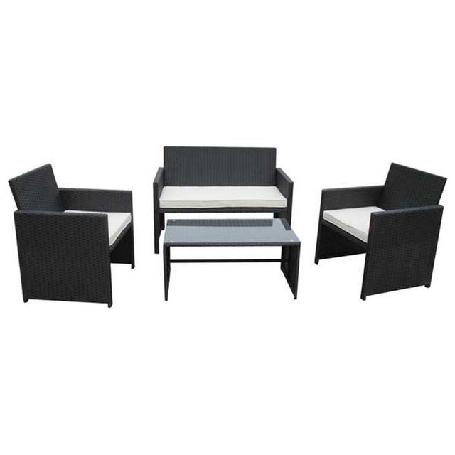 Wilsa Ensemble table et 2 fauteuils de jardin Lounge 1 Sofa 2 Places