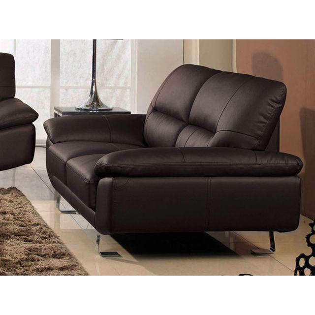la maison du canap canap cuir 2 places eva cuir sup rieur marron achat vente canap s. Black Bedroom Furniture Sets. Home Design Ideas