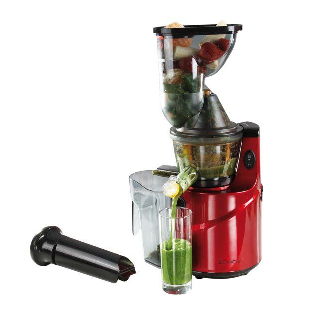DOMOCLIP Extracteur de jus, goulotte extra-large DOP138 Extracteur de jus vertical électrique - Fonction reverse pour décoincer les aliments pendant l'extraction - Bec verseur - Anti-goutte - 2 réservoirs à pulpe et &agra